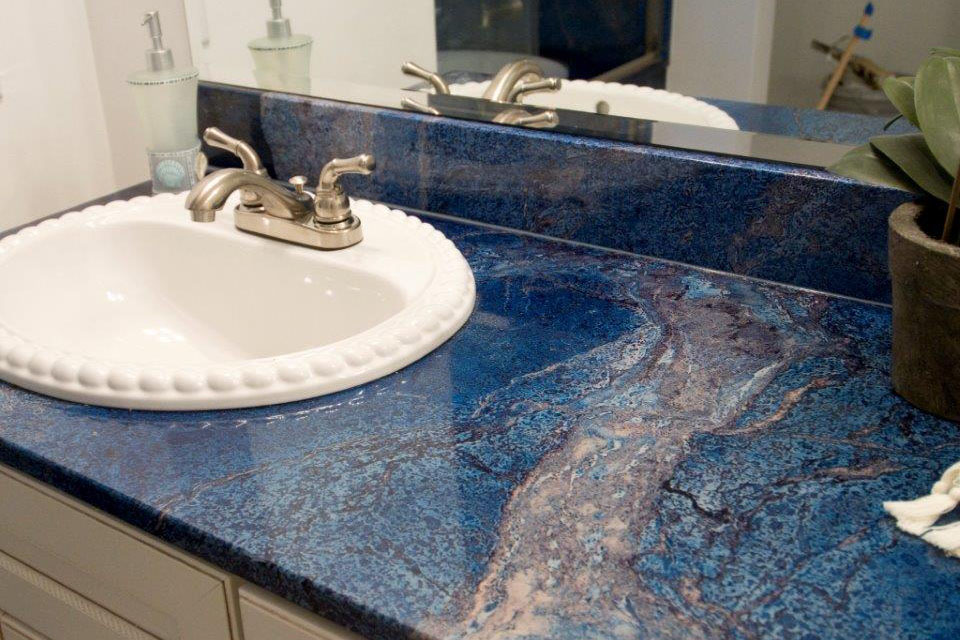 Custom cultured marble bathroom countertop - Athena Corporation